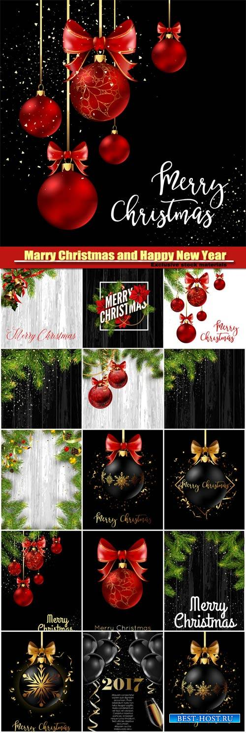 Marry Christmas and Happy New Year vector, Christmas decoration ball with g ...