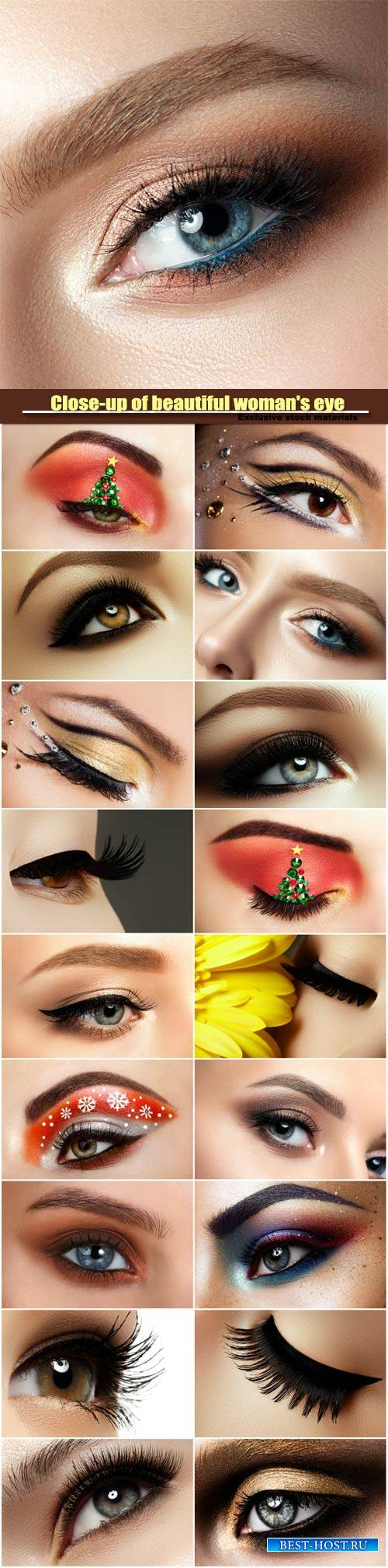 Close-up of beautiful woman's eye, colored eyeshadows, makeover christmas  ...