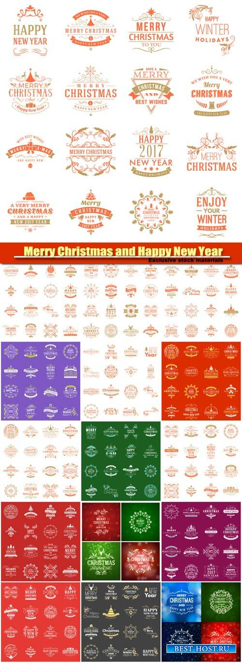 Merry Christmas and Happy New Year, decorative elements vector