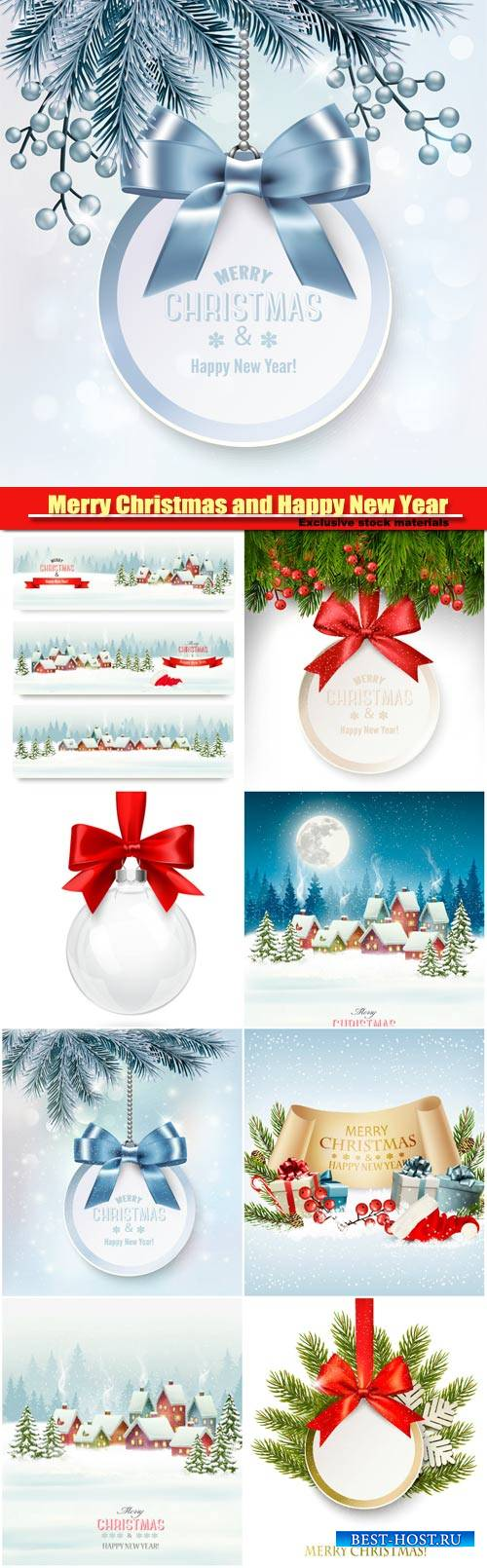 Merry Christmas and Happy New Year vector, background with a gift card and  ...