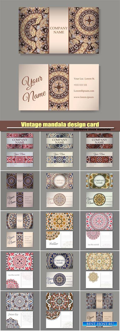 Vintage mandala design card with decorative ornament