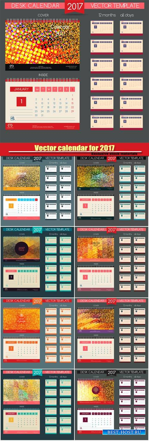 Desktop vector calendar for 2017, templates all months