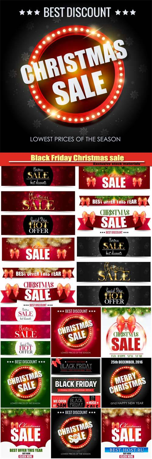 Black Friday Christmas sale, backgrounds and banners vector