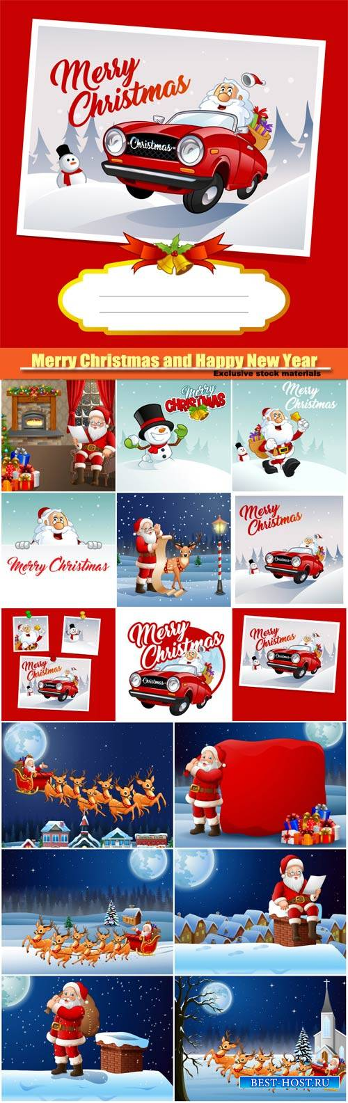 Merry Christmas and Happy New Year vector, Santa Clause and snowman