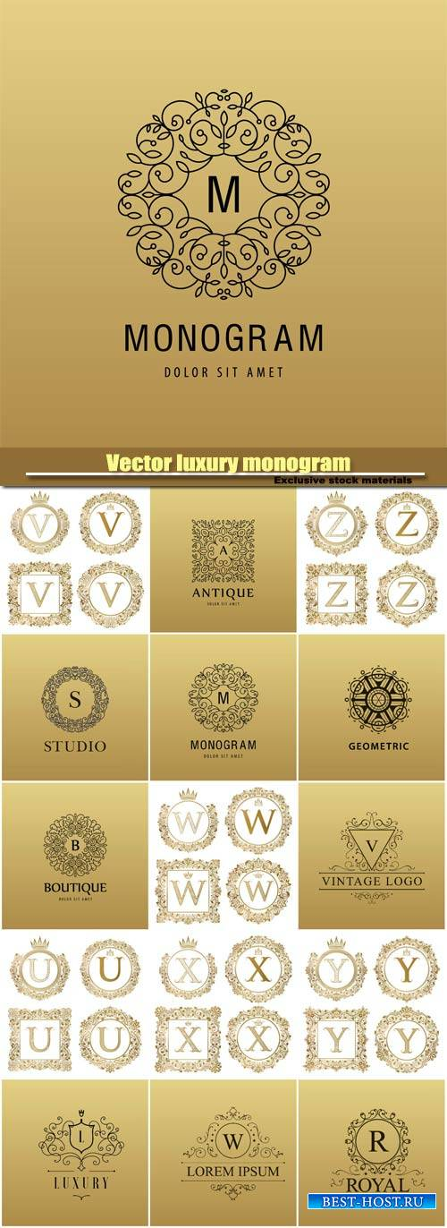 Vector luxury monogram, logo company icon, decorative golden letter