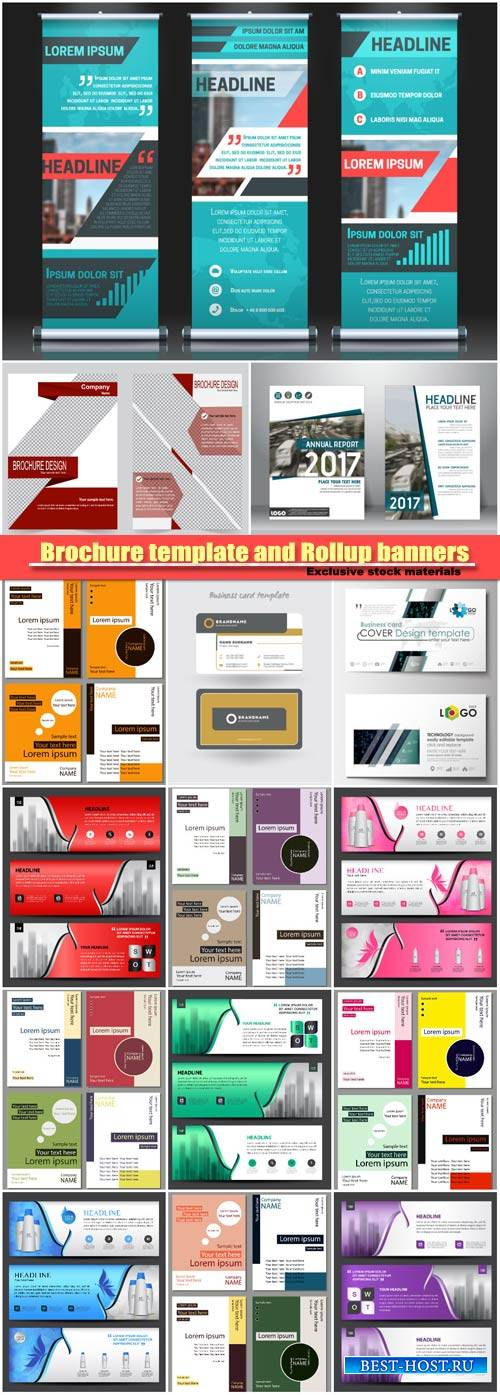 Brochure vector template and Rollup banners, flyer design, horizontal banne ...