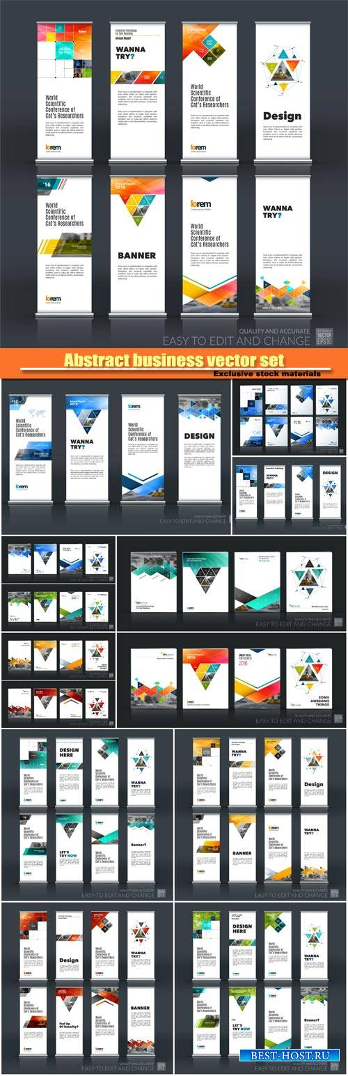 Abstract business vector set of modern roll up banner, brochure template la ...