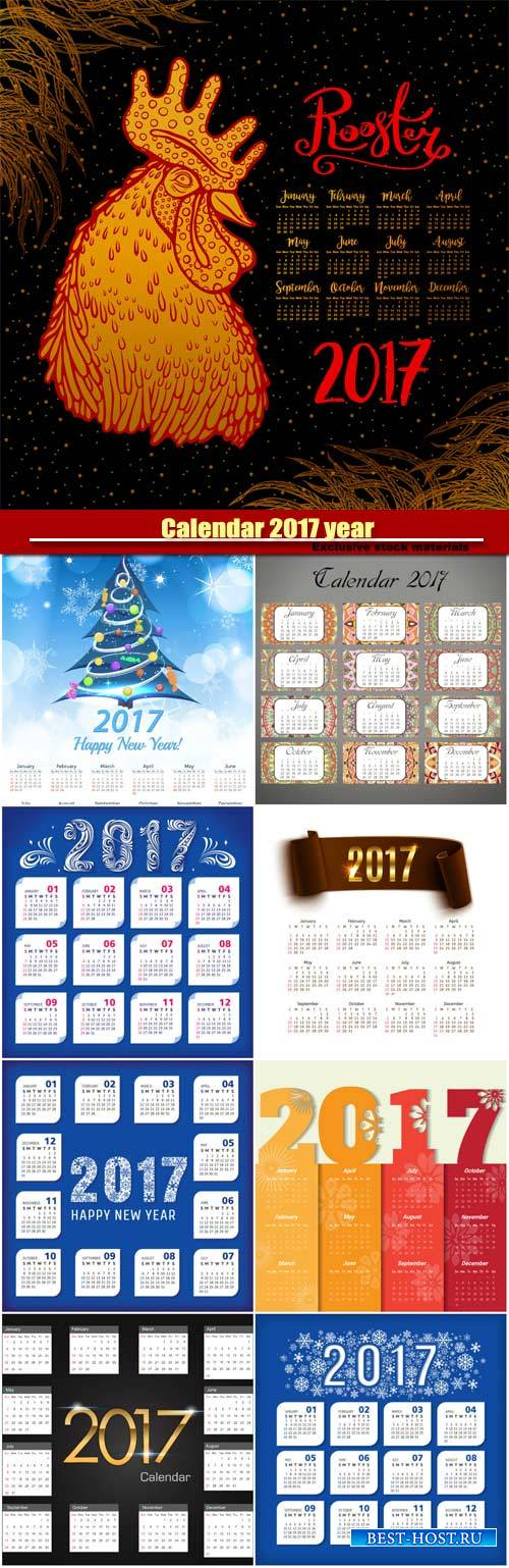 Calendar 2017 year, Happy new year vector