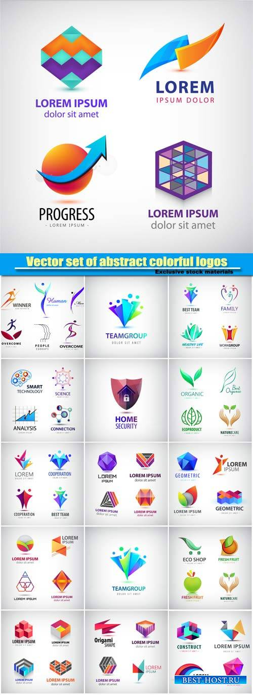 Vector set of abstract colorful logos, company icons