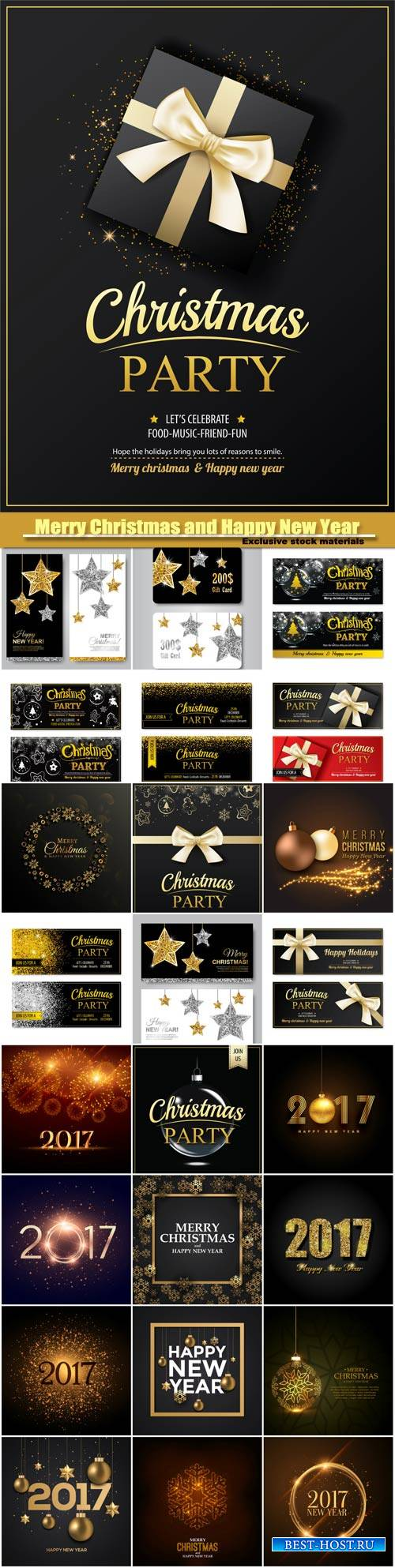 Merry Christmas and Happy New Year vector, invitation party banner, card design template, gold glittering