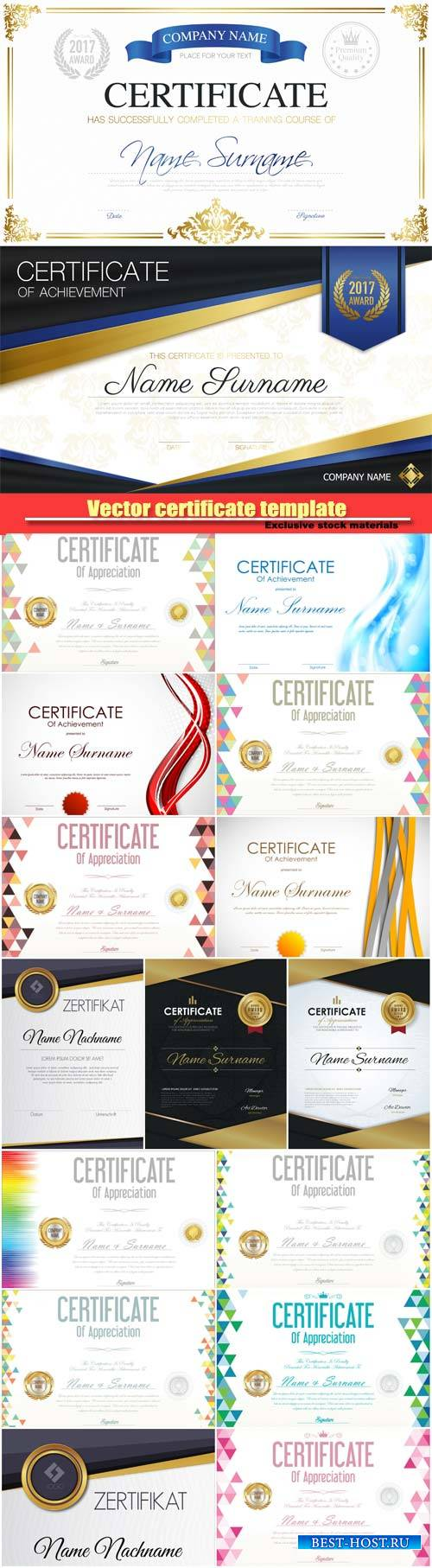 Certificate vector retro design template