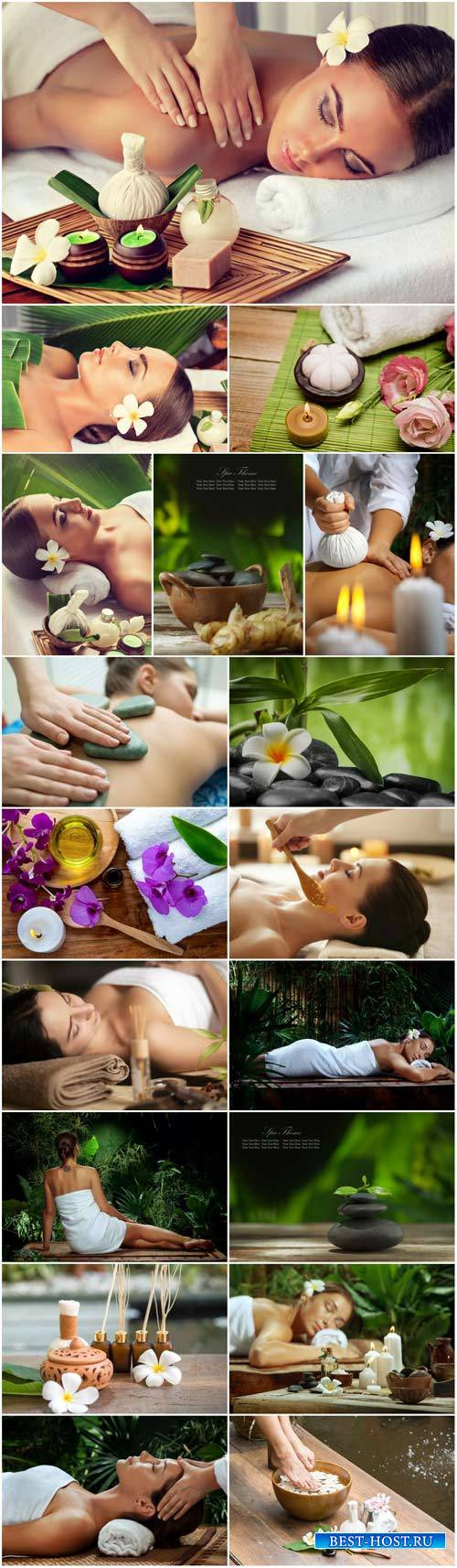 Spa concept, female face, woman having relaxing in spa massage salon