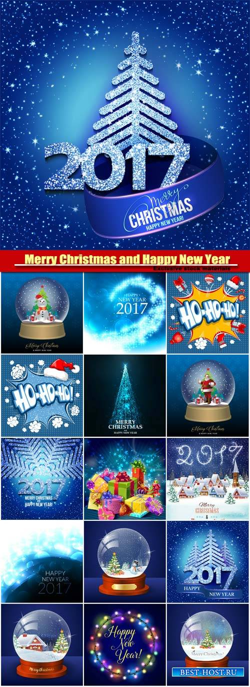 Merry Christmas and Happy New Year vector, Christmas trees, winter globe wi ...