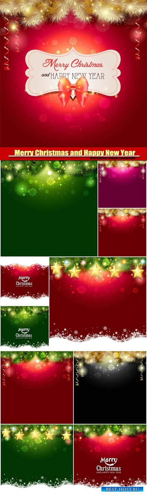 Merry Christmas and Happy New Year vector, background with a glowing effect