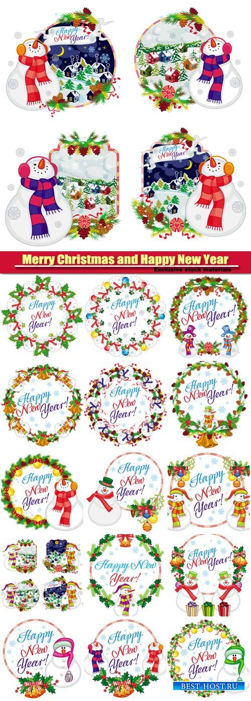 Set of holiday labels with happy snowman in funny hat and scarf,  New Year and Christmas design element