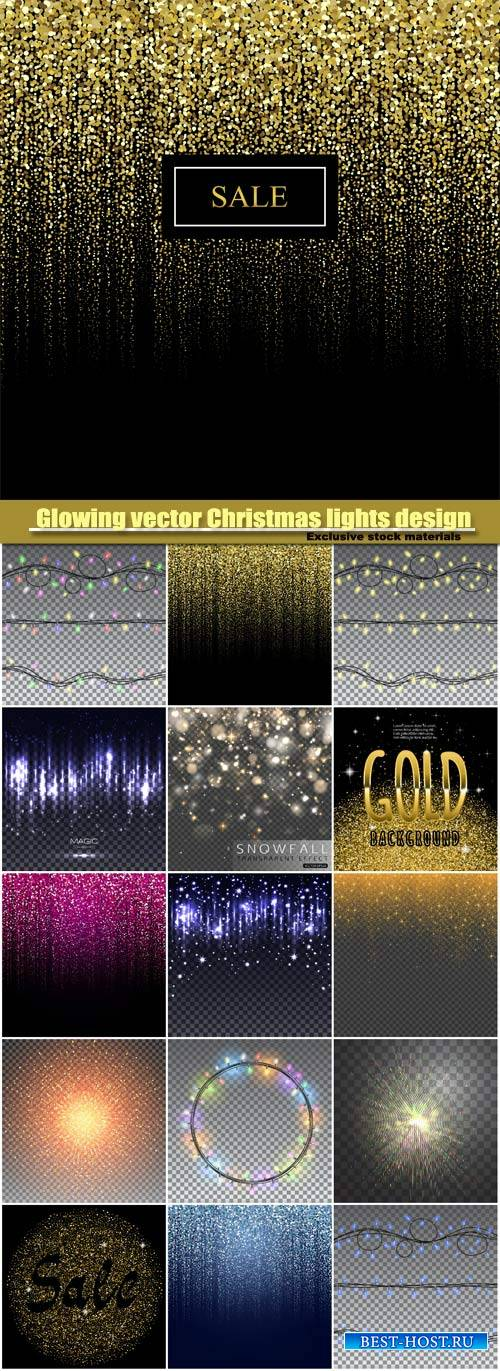 Glowing vector Christmas lights design elements, particles rain background, ...