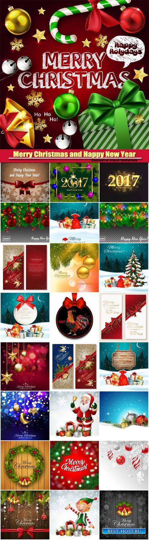 Merry Christmas and Happy New Year vector, greeting cards, leaflets and bro ...