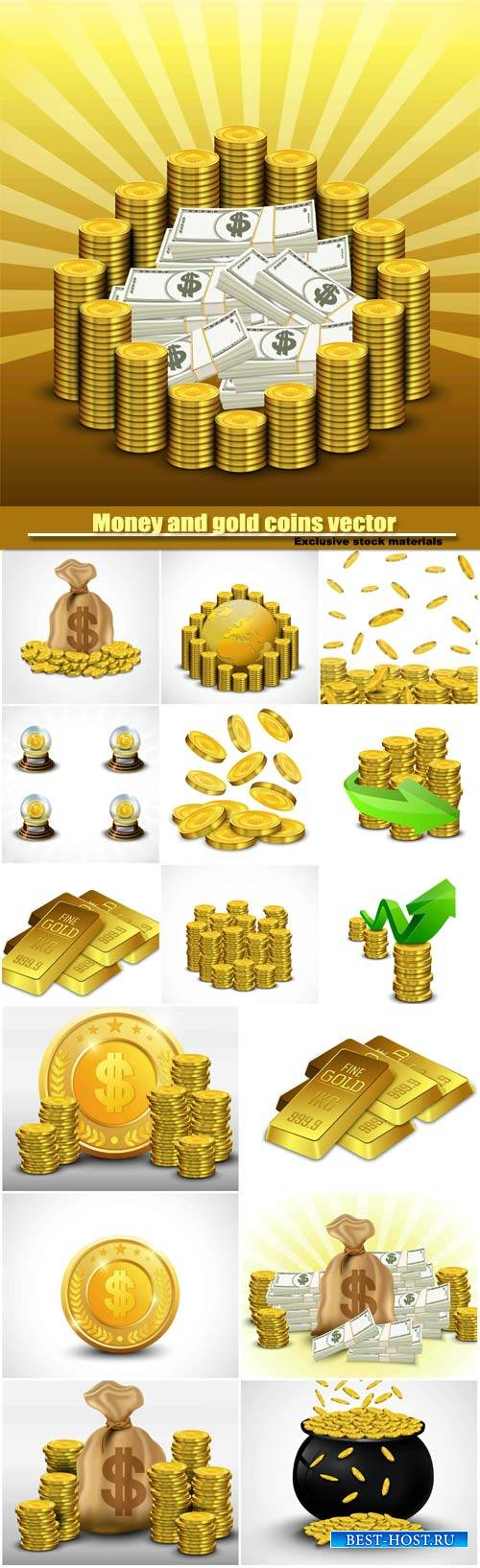 Money and gold coins vector