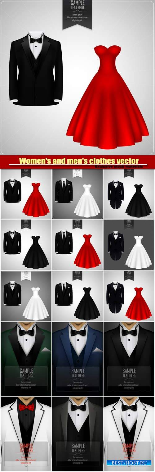 Women's and men's clothes vector, dress and men's suit