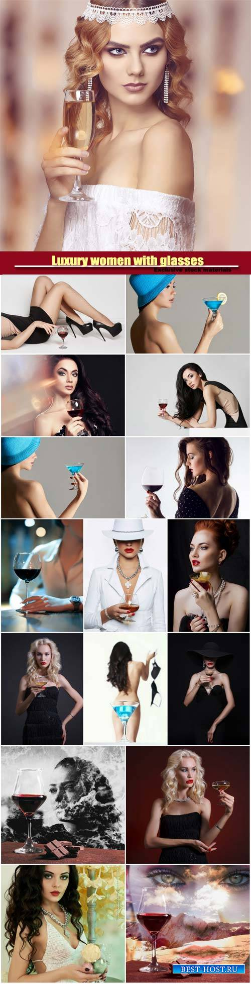 Luxury women with glasses of champagne and wine