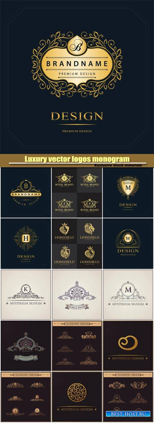 Luxury vector logos monogram, vintage royal calligraphic elements