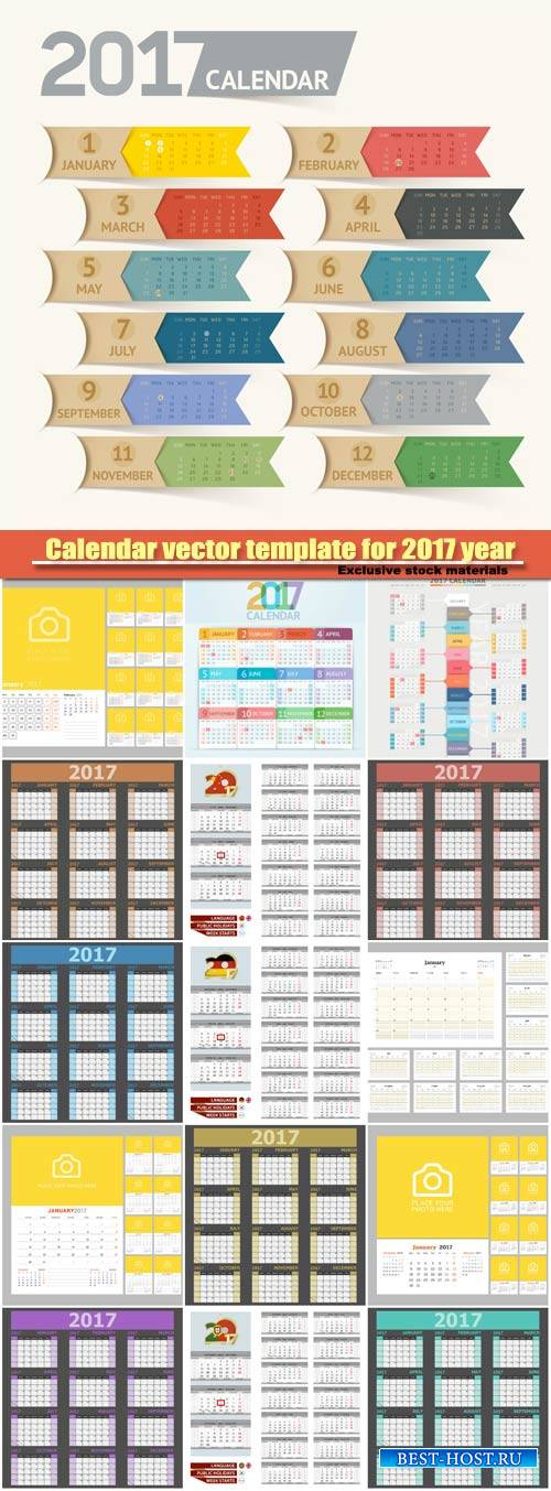 Calendar vector template for 2017 year