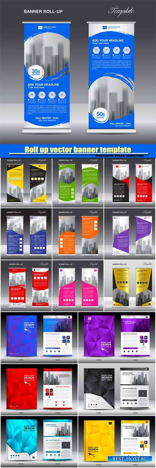 Roll up vector banner template, brochure flyer template design