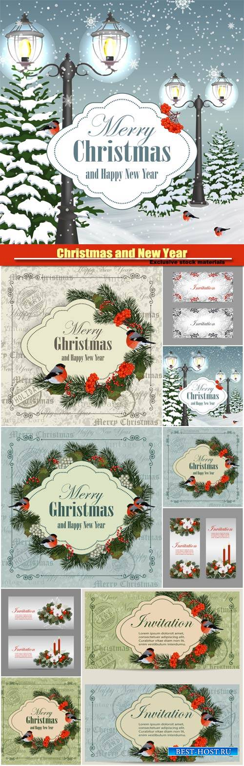 Christmas and New Year vintage greeting card