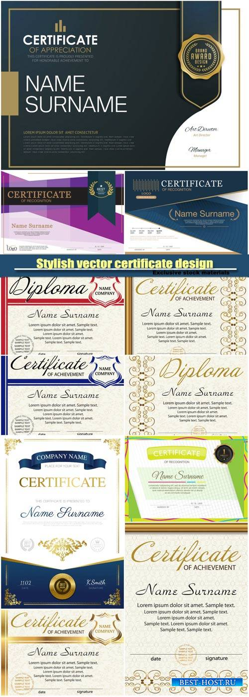 Stylish vector certificate design