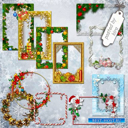 Клипарт - Новогодние и зимние рамочки, часть 2