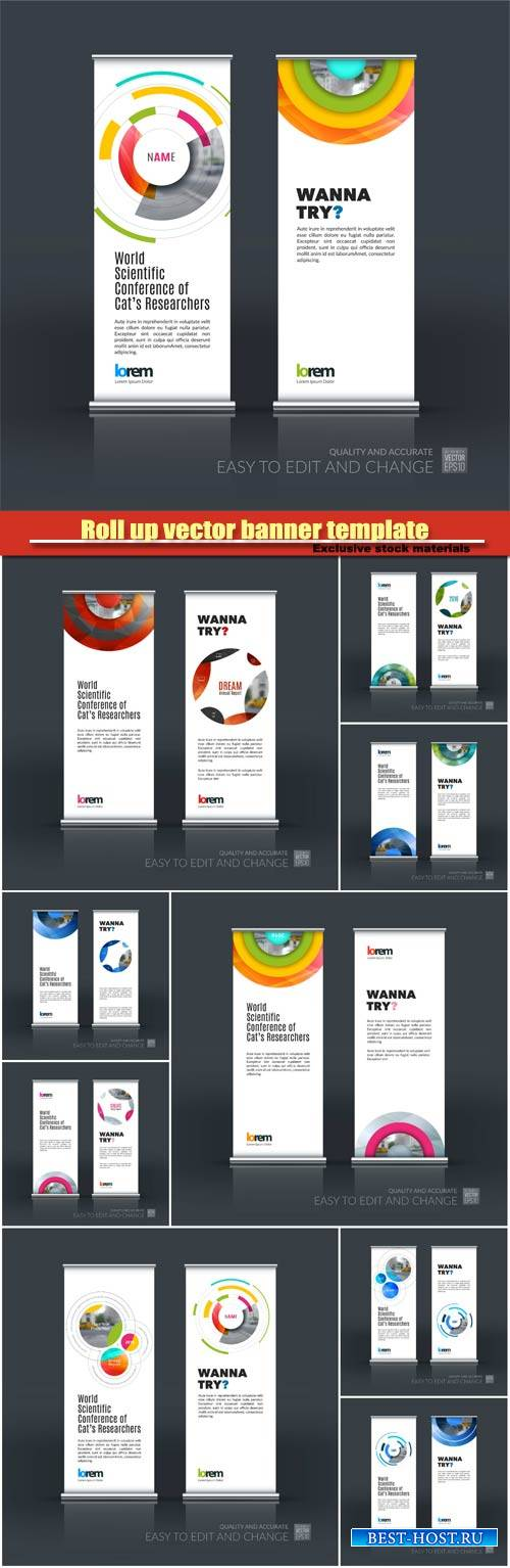 Roll up vector banner template, abstract business vector set