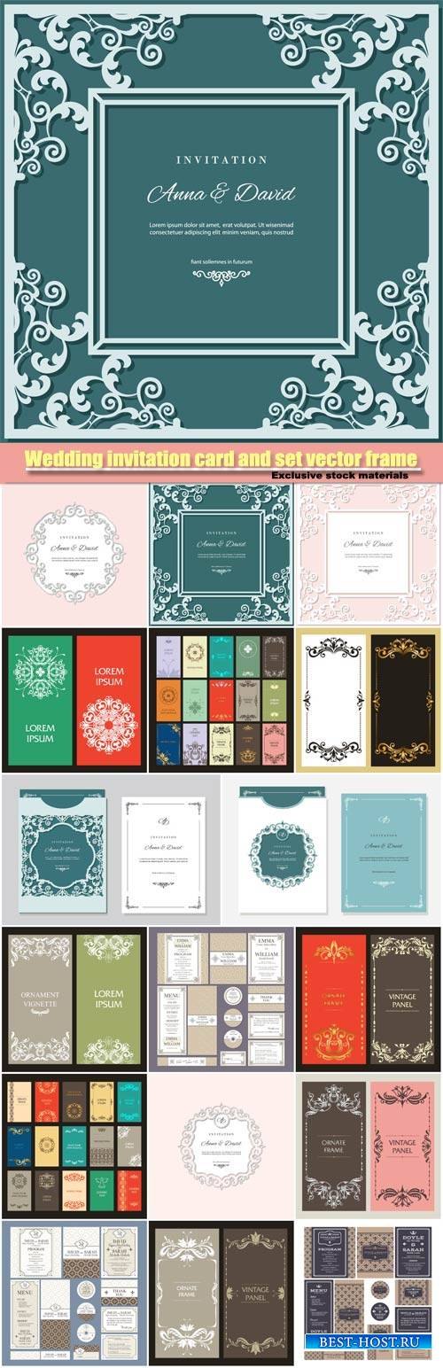 Wedding invitation card and set of vector labels