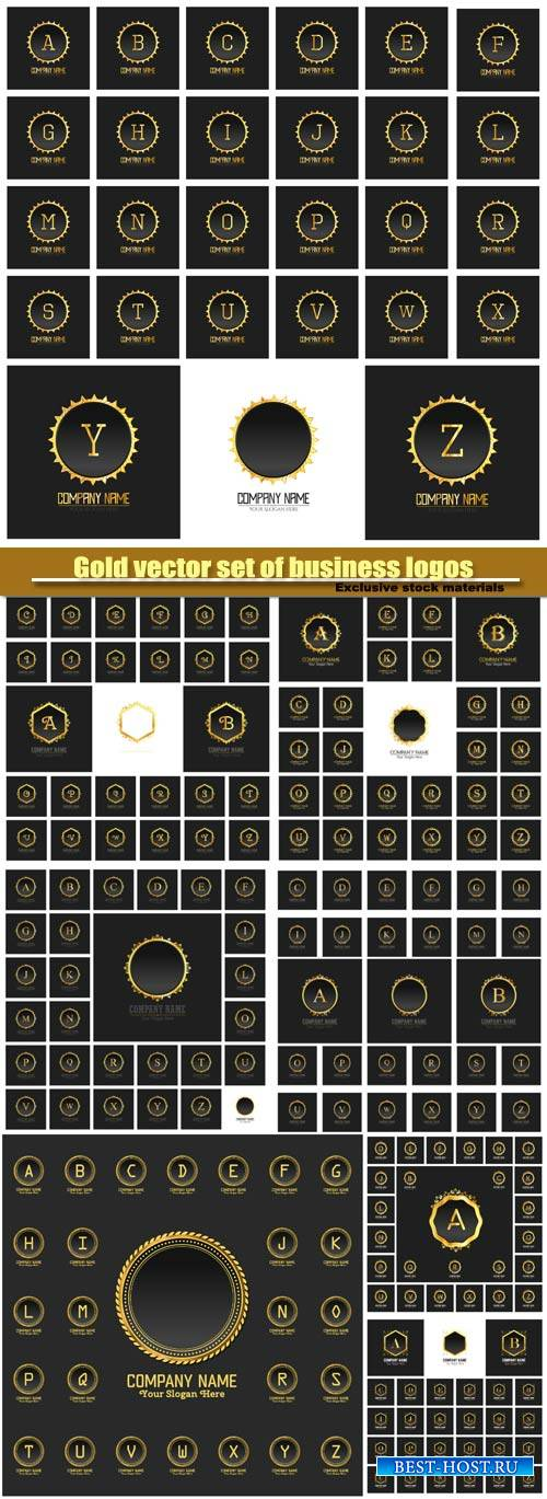 Gold vector set of business logos