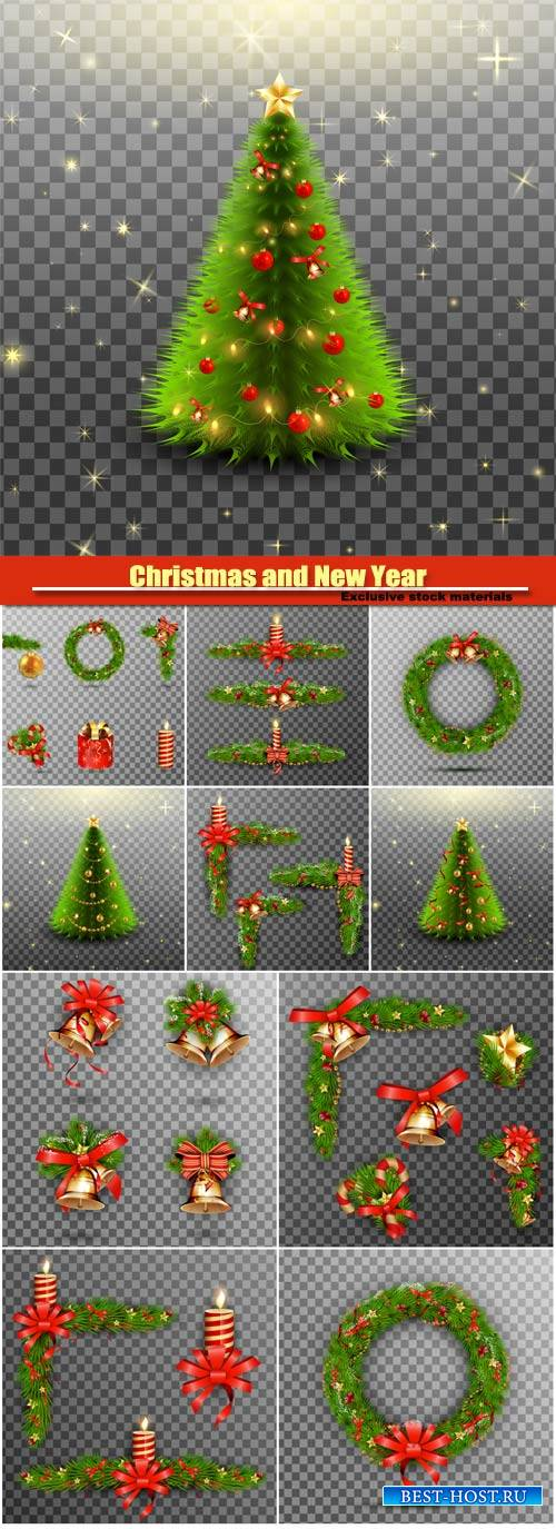 Christmas holiday vector decorative elements set