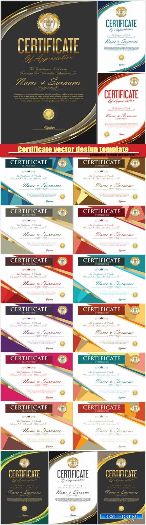 Certificate vector design template
