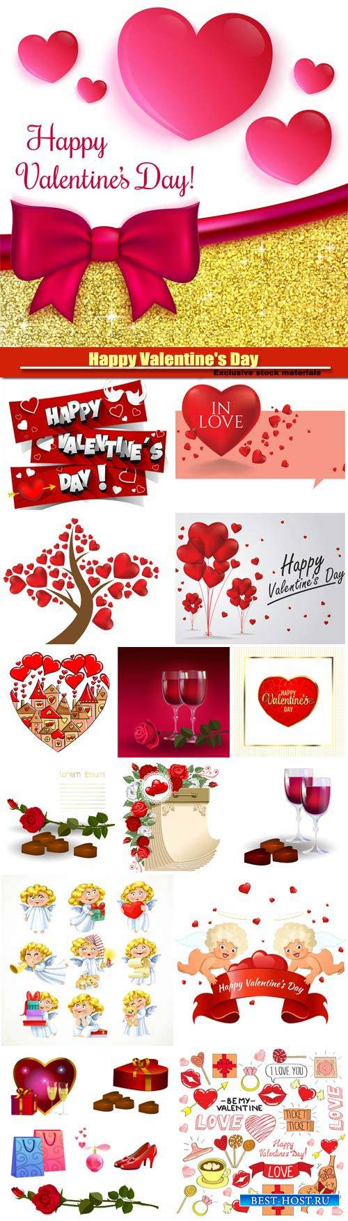 Happy Valentine's Day vector, hearts, romance, love #11