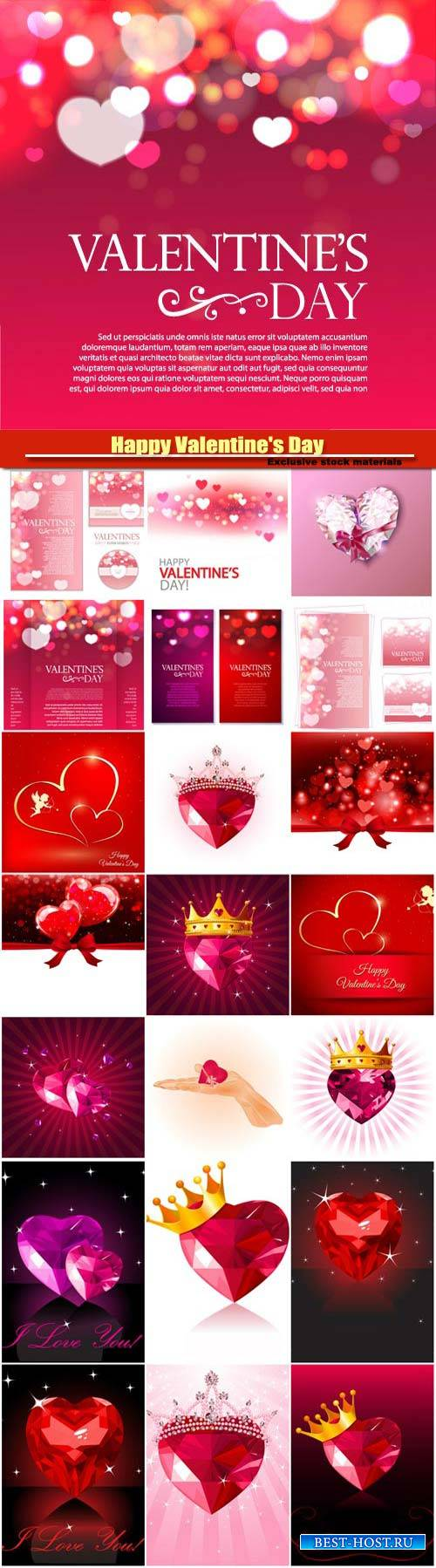 Happy Valentine's Day vector, hearts, romance, love #10