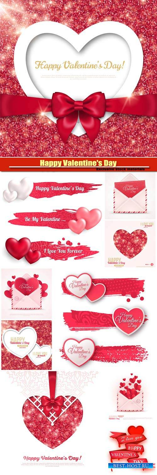 Happy Valentine's Day vector, hearts, romance, love #6