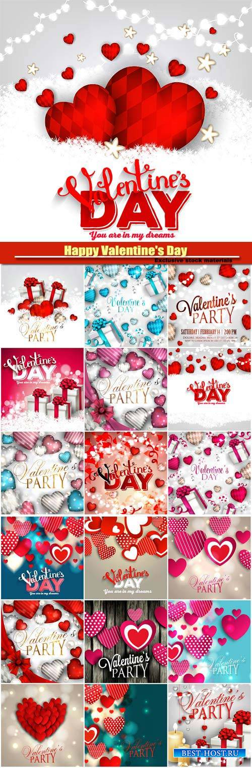 Happy Valentine's Day vector, hearts, romance, love #19