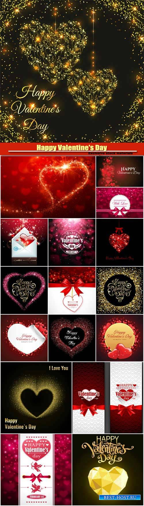 Happy Valentine's Day vector, hearts, romance, love #12