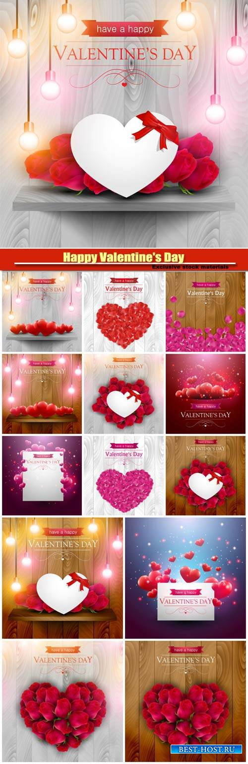 Happy Valentine's Day vector, hearts, romance, love #2