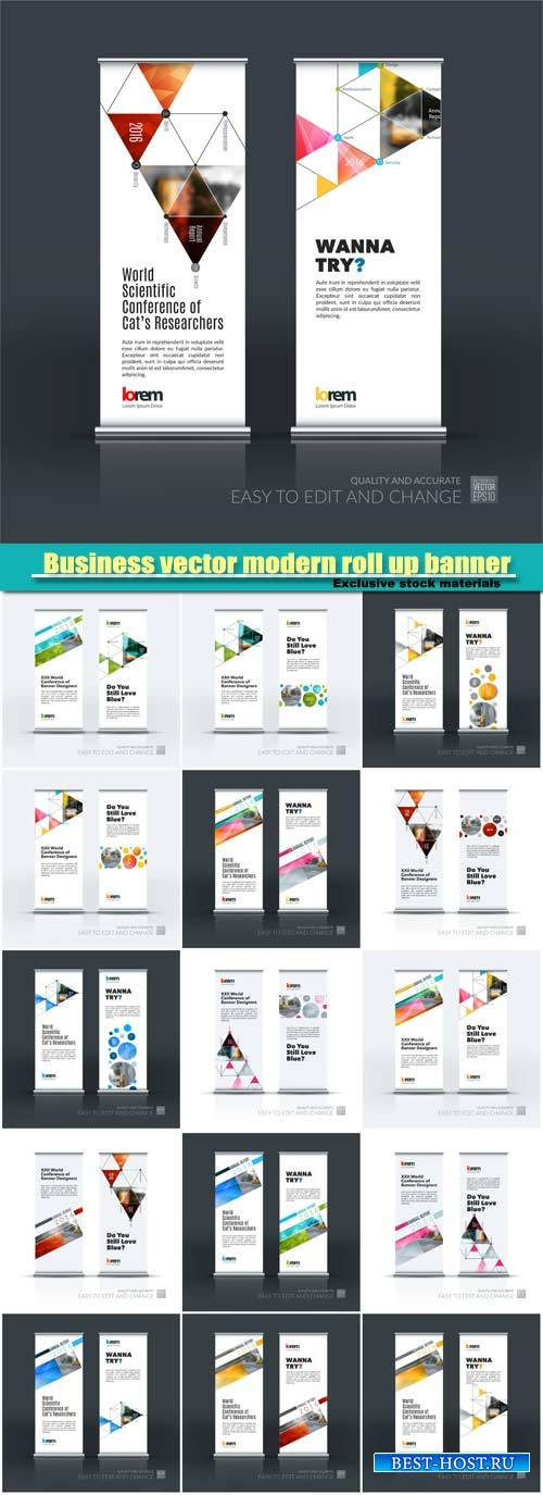 Business vector modern roll up banner design template