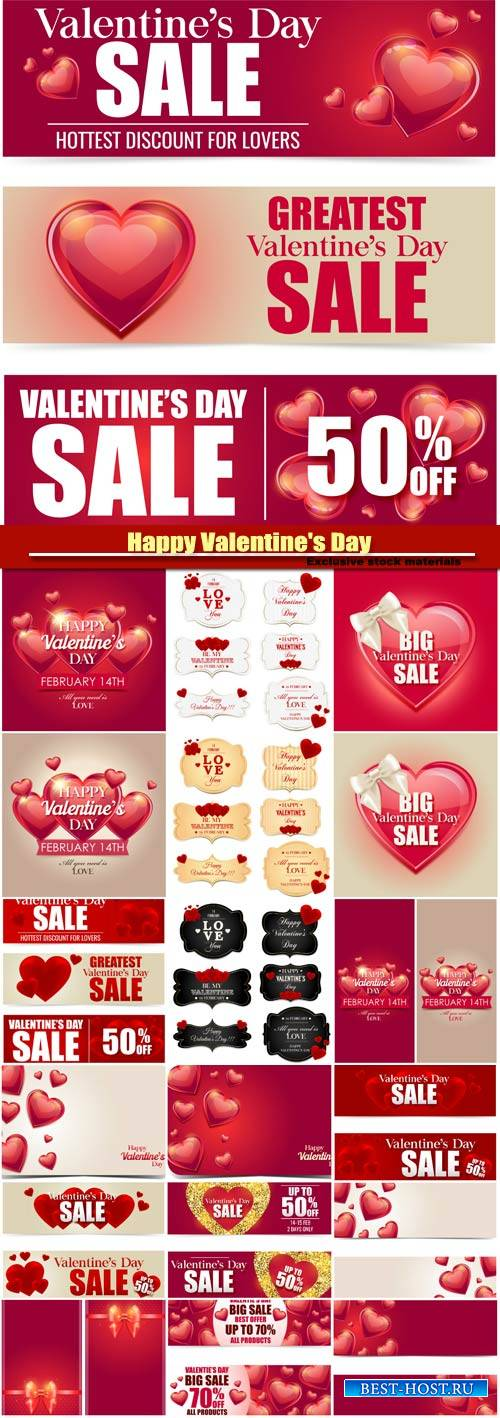 Valentine vector banner sale