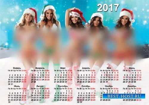 Календарь на 2017 год - Милые снегурочки в бикини
