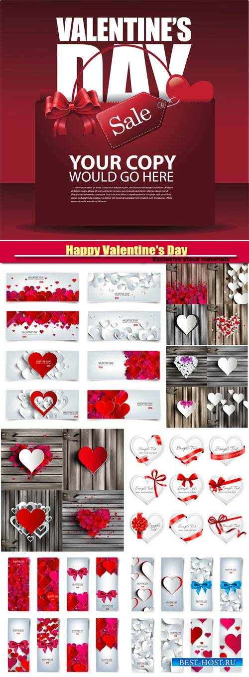 Happy Valentine's Day vector, hearts, romance, love #27