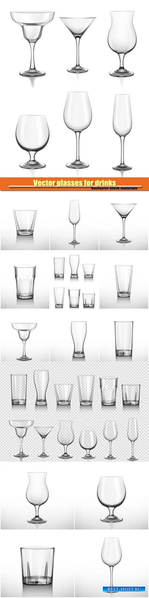 Vector glasses for drinks