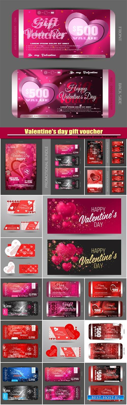 Vector set of greeting card and happy Valentine's day gift voucher