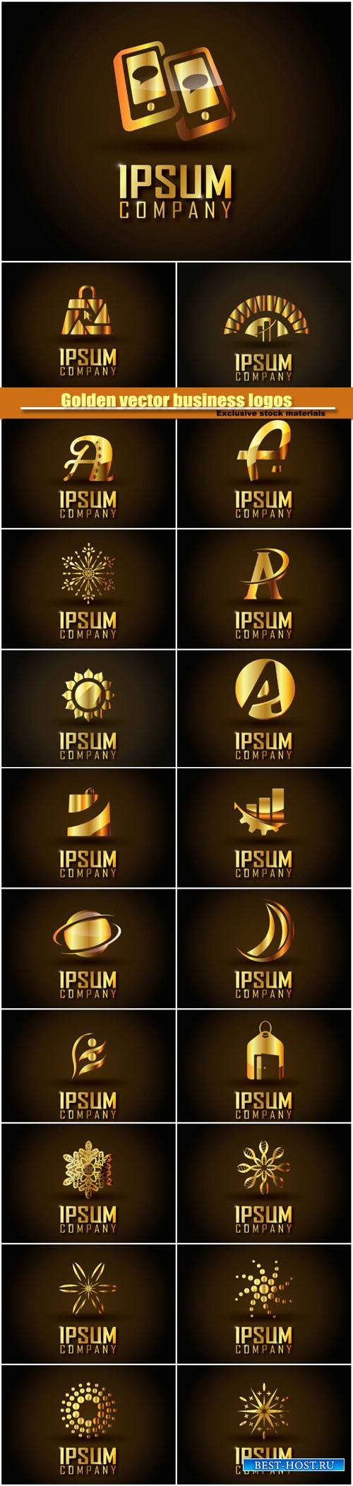 Golden vector business logos on a dark background