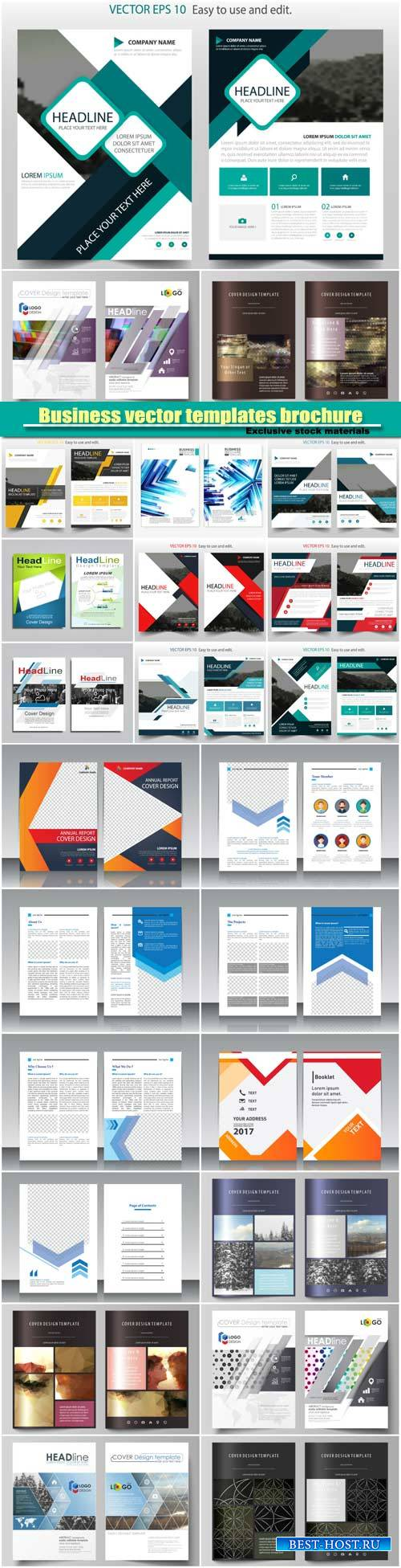 Business vector templates brochure, magazine, flyer, booklet or annual repo ...