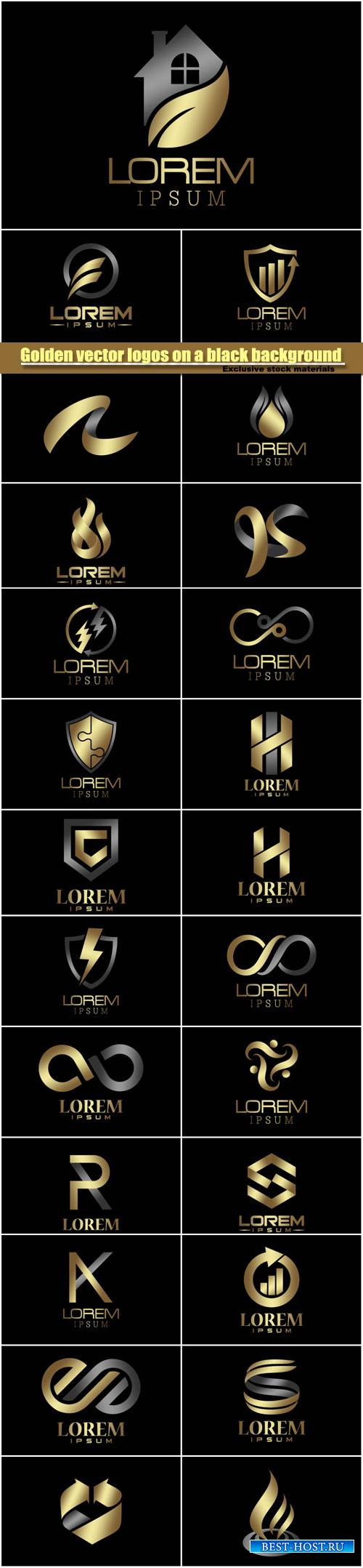 Golden vector logos on a black background